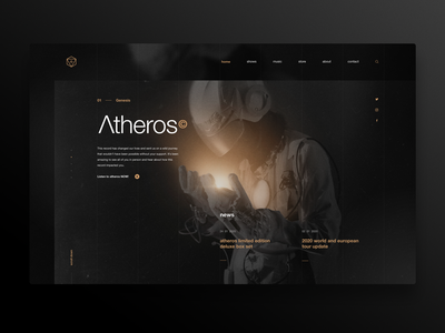 Atheros - concept design user interface landing page photoshop uidesign ui image editing retouch creative music astronaut image web web app