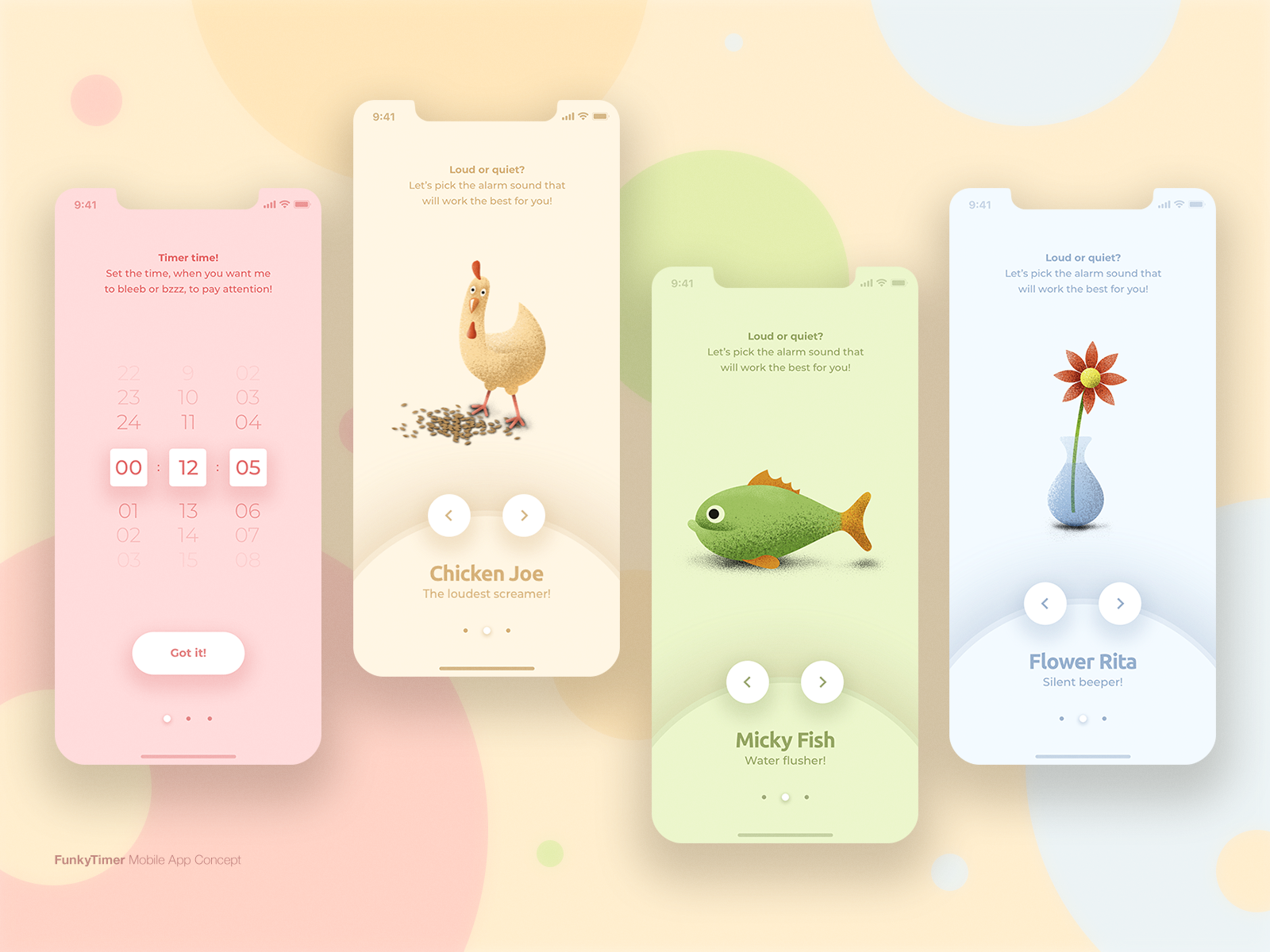 FunkyTimer / Mobile App Concept funny time timer colors apple iphone animals uidesign ux  ui ux product design mobile app user interface design user interface
