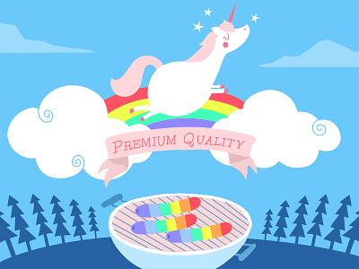 Unicorn Sausage uncorn sausage babecue colorful rainbow illustration