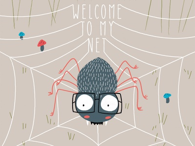 welcome to my net cute flat beattle bug concept illustration artwork