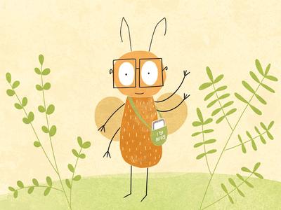 I love bugs cute flat beattle bug concept illustration artwork