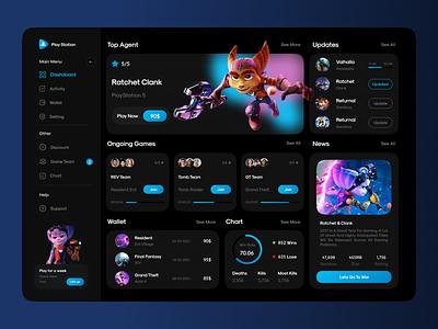 PlayStation Dashboard ios app neon blue purple website ux ui uiux dark mode dark web design web playstation dashboard gaming game