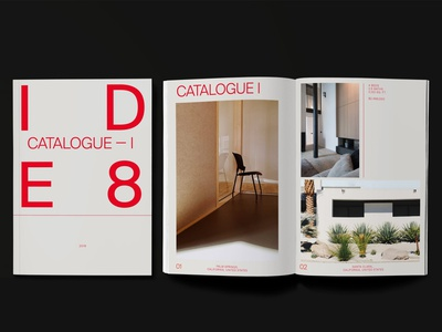 Catalogue Design for IDE8 photography interior home red minimal materials print graphic design design catalogue