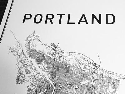 Portland portland city map poster print typography