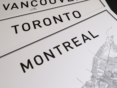 Oh Canada print poster montreal toronto vancouver canada typography map city