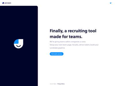 join.team splash page recruiting product join.team jointeam landingpage splashpage startup