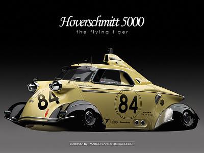 Hoverschmitt 5000 flying car messerschmitt tg500 tiger digital concept art hover car