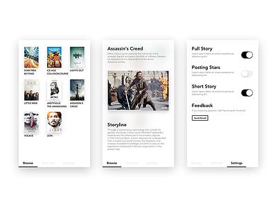 Movie App flat browse new pure minimalist ticket movie ux ui ios cinema app
