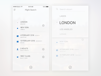 Flight Booking ios white flat airlines flight minimalist ux ui search app