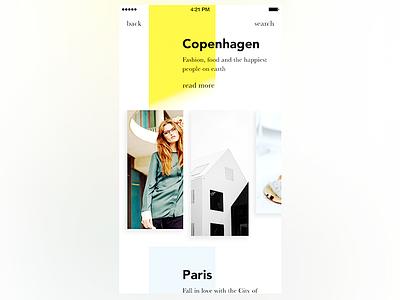 Pure Design Travel Guide App medium read pure browse ux simple paris minimalist guide minimal travel app