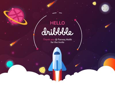 Hello Dribbble! graphics design invite thanks dribbble rocket launch thank you for invite launch first draft