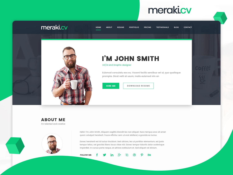 meraki one page resume wordpress theme by multidots on