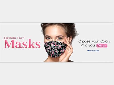 Custom Face Masks Banner web banner product design branding mask banner custom banner banner