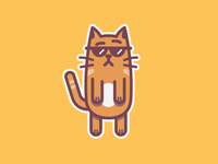 Charming! mascot simple illustration character flat cute cat