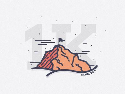 1000 Followers lines peak 1000 milestone texture landscape thanks celebration flag mountain followers 1k