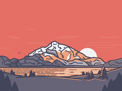Landscape sunset illustration landscape