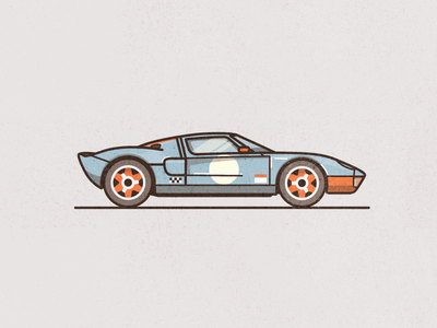 GT Gulf flat colour racing texture line car illustration gulf gt ford