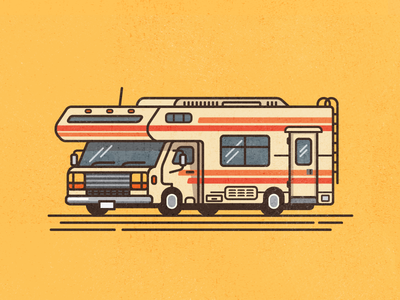 RV texture line thick retro camper outdoors camping vehicle recreational illustration rv