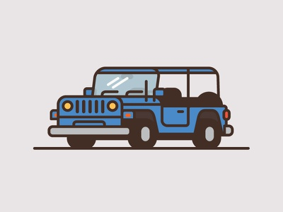 Jeep #1 wrangler minimal flat color thick line illustration truck car jeep