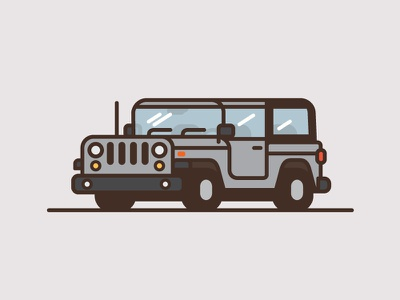 Jeep #2 jeep car truck illustration thick line flat color minimal wrangler