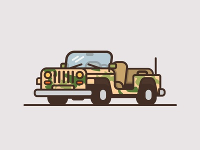 Jeep #3 wrangler minimal flat color thick line illustration truck car jeep