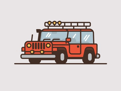 Jeep #4 wrangler minimal flat color thick line illustration truck car jeep