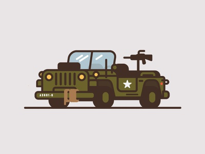 Jeep #5 jeep car truck illustration thick line flat color minimal army