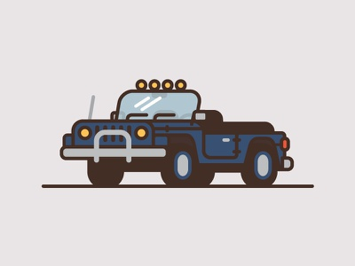 Jeep #6 jeep car truck illustration thick line flat color minimal