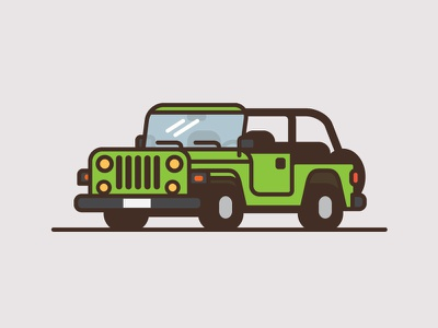 Jeep #7 wrangler minimal flat color thick line illustration truck car jeep