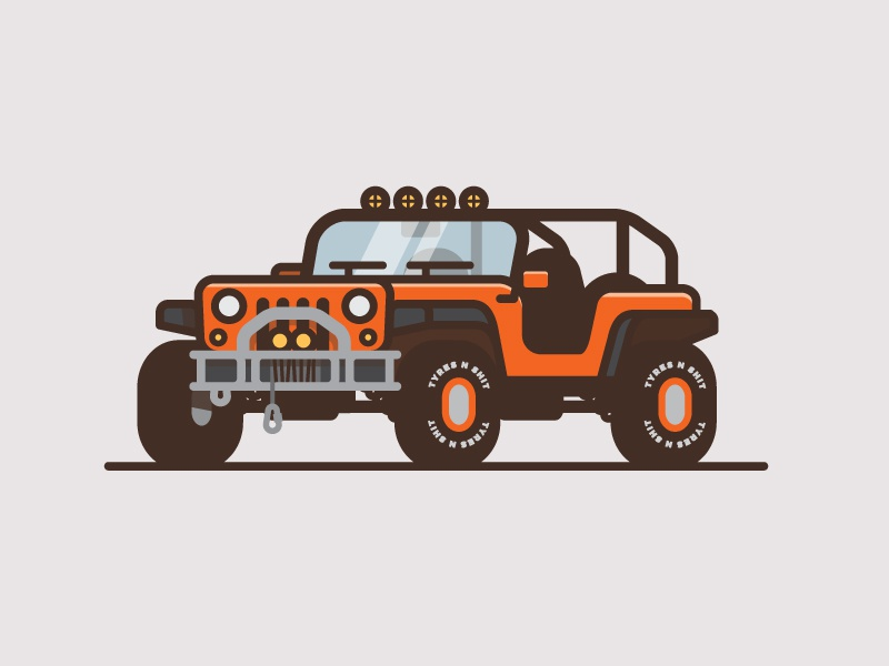 Bonus Jeep wrangler minimal flat color thick line illustration truck car jeep