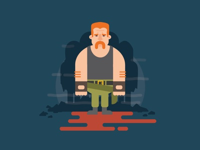Abraham handlebar zombies flat color illustration abraham dude moustache ginger character twd the walking dead