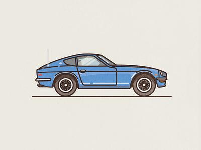 1970 Datsun 240Z classic thick lines flat colour line texture 1970 240z datsun illustration car