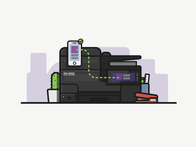 Mobile Printing printer illustration line print office thick line