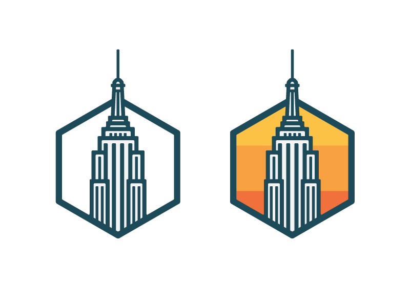 Empire State Building 7daystocreate logo badge landscape city building flat color thick lines line illustration icon skyscraper