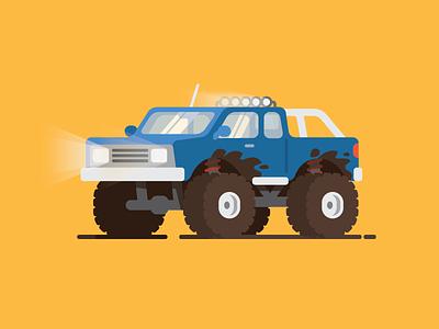 Off Roading cool dirt color flat monster illustration truck car