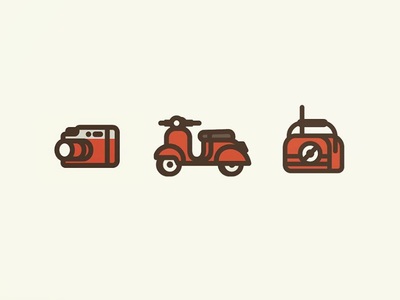 Retro Icons radio vespa camera cool style 60s 50s retro line thick lines illustration icons
