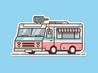 Ice Cream Truck sticker lines thick line illustration van car truck ice cream summer