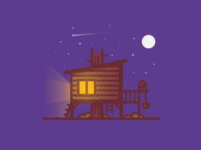 Treehouse 7daystocreate lighting camping night line illustration scene woods cabin house tree treehouse