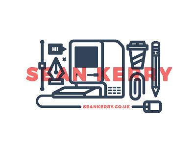 Personal Branding apple mac coffee pencil icon line self promo illustration icons branding