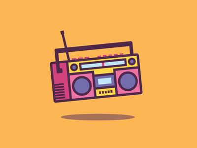 Bouncin' 80s icon thick line flat music illustration sticker boombox