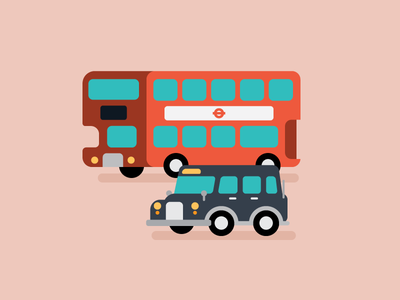 London Transport blog spot editorial vector transport cute flat illustration taxi cab bus london