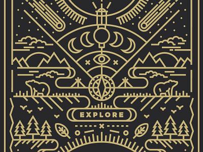 Explore @ Cotton Bureau product illustration line explore tshirt