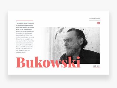 Bukowski flat white legend minimal clean quote bukowski daily ui web ui editorial