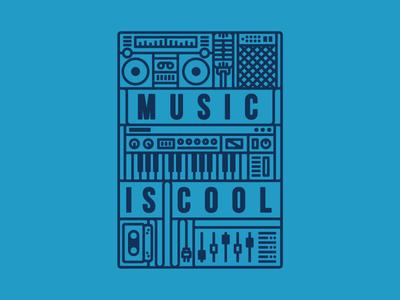 Music Is Cool! cool mic tape keyboard tshirt t-shirt boombox fun tee illustration line music