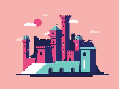 Castle style fun sky editorial city building fantasy spot blog illustration flat castle