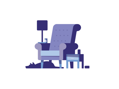 Sit back and relax home relax dog blog editorial spot flat illustration chill sofa seat chair