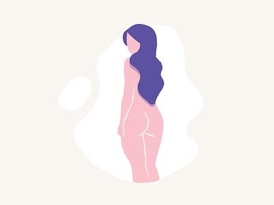 Woman naked nude life vector art blog editorial spot texture illustration woman flat