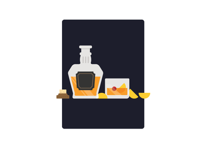 Old Fashioned cocktail old fashioned flat illustration whiskey