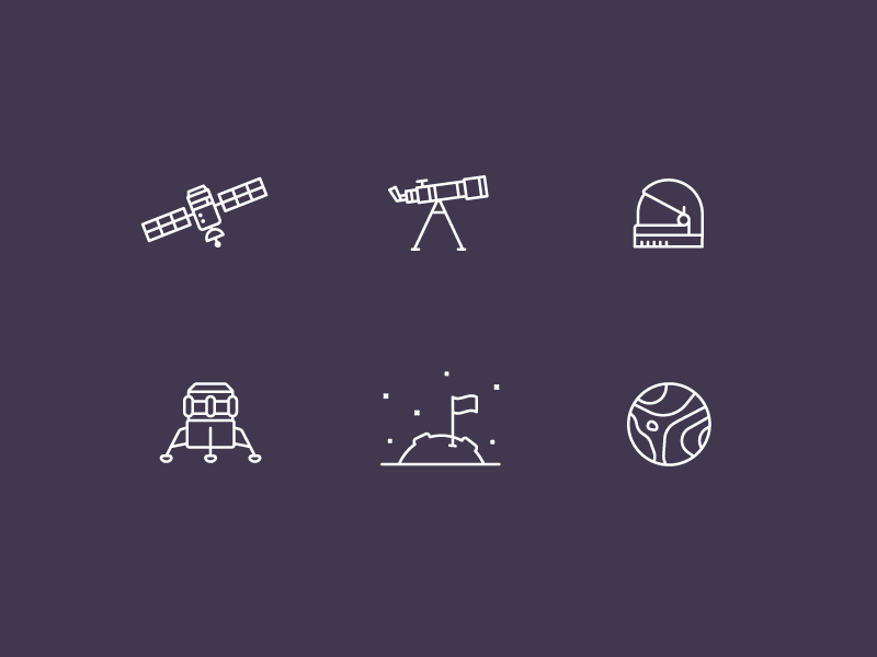 Space Icons simple product illustration minimal line icons icon space