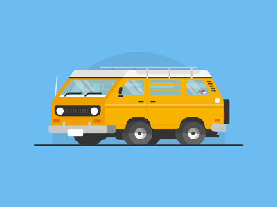 Camper editorial fun cool vw camper blog spot car flat vector illustration